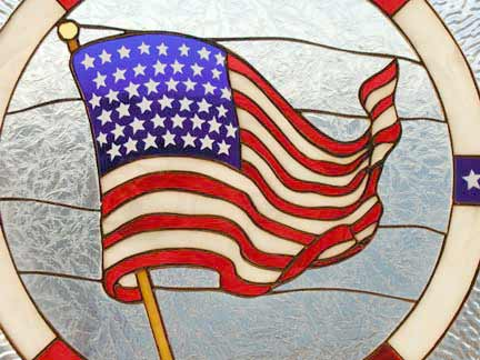 Us Flag Stained Glass Window Custom Glass Design