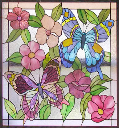 Stained And Leaded Glass Butterflies Flowers