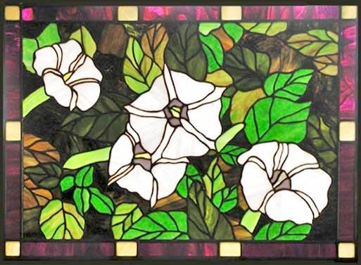 BELLADONNA FLOWERS STAINED GLASS WINDOW CUSTOM DESIGN CREATED BY JACK McCOYC
