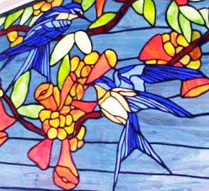 custom stained glass blue birds window