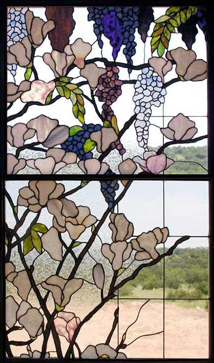 Wisteria Magnolia Stained Glass Window Custom Glass Design