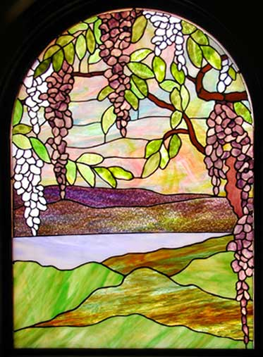 Wisteria Stained Glass Landscape Window Custom Arched