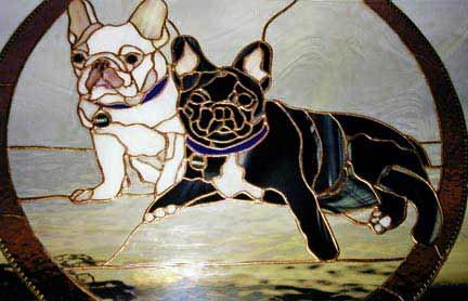 English Bull Dogs Portrait Stained Glass Window Custom