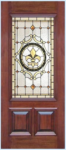 FALCOND STAINED AND LEADED GLASS VICTORIAN STYLE DOOR CUSTOM DESIGN CREATED BY JACK McCOYC