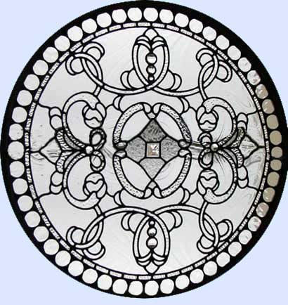 falconhead 1c leaded glass bevel circle window