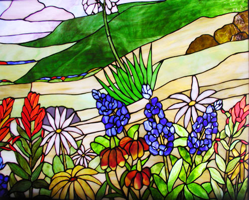 Custom stained glass window of wild flowers of Texas