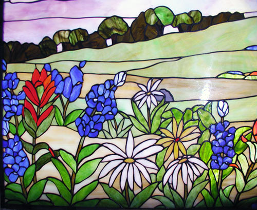 Texas Wildflowers 3 Stained Leaded Window By Jack Mccoy