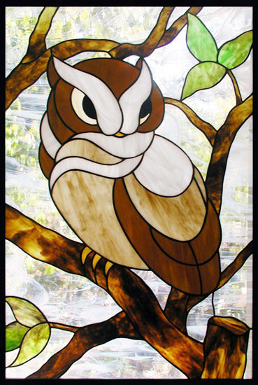 Owl Stained Glass Window Custom Glass Design