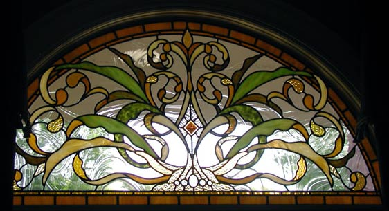 hogan stained and leaded glass arched window custom glass design