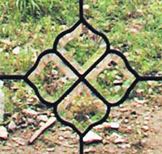 Closeup of leaded glass beveled window