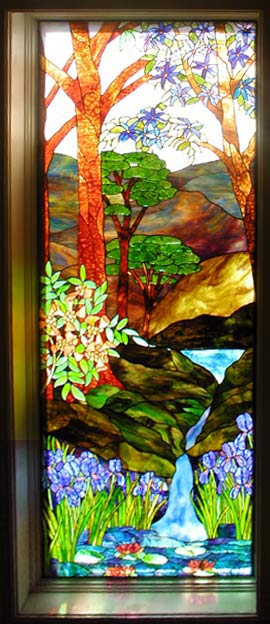 Waterfall Landscape Stained Glass Window Custom Glass Design