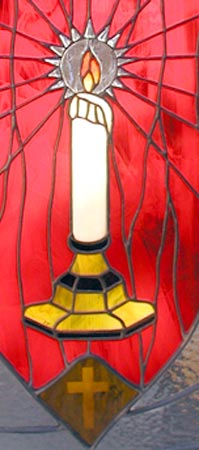 Closeup of Light of the World custom religious stained glass and leaded glass window
