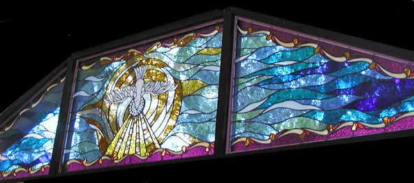 Dove of peace stained and leaded glass windows