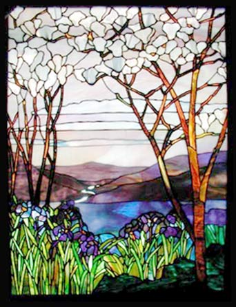 irises and magnolias stained glass Tiffany reproduction window