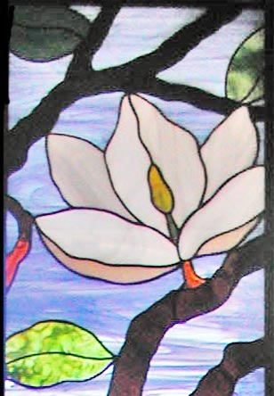 Magnolias Stained And Leaded Glass Sidelight Window Custom