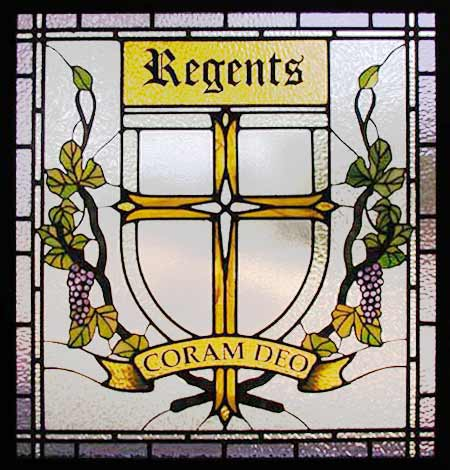Regents stained and leaded glass window