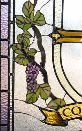 Closeup of regents stained and leaded glass window