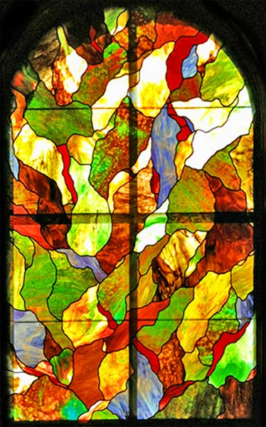 Ritchie Leigh2 Leaded Stained Glass Abstract Arch Window