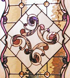 Victorian style stained and leaded glass custom pocket door