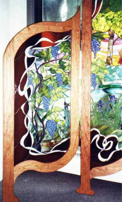 Victorian Style Stained Glass Standing Screen Custom Glass
