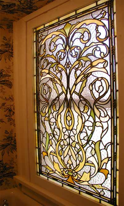 SPOKEAN1A CUSTOM LEADED STAINED GLASS VICTORIAN STYLE WINDOW CREATED BY JACK McCOYC
