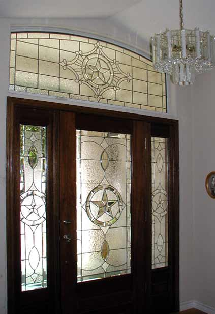 Texstar E7 Leaded Glass Beveled Transom Window Custom Glass Design