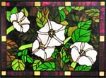 Custom Belladonna flowers stained glass window by Jack McCoy