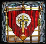 BH cross custom religious stained glass windows
