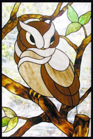 Owl stained glass window