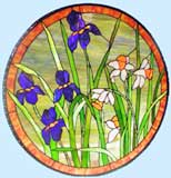 Custom stained glass irises and daffodils circular window by Jack McCoy