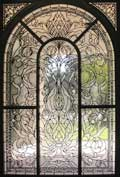Custom leaded glass garden tub privacy window