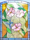 hummingbird and flowers stained glass and leaded glass window