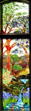 Custom stained glass landscape with waterfall by Jack McCoy