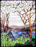Custom magnolias irises stained glass window by Jack McCoy