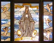 our lady queen of peace custom stained glass window