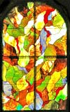 abstract arch stained and leaded glass window