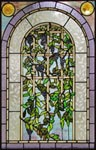 Custom Wisteria flowers stained glass window by Jack McCoy