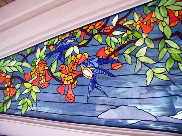 Trumpet Vine Birds Stained Glass Window Custom Glass Design