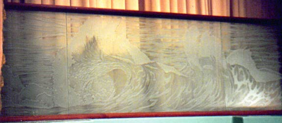 ocean waves sandblasted etching