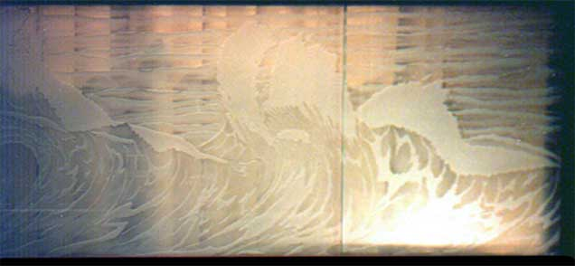 Custom Ocean Wave Sandblasted Etching Window