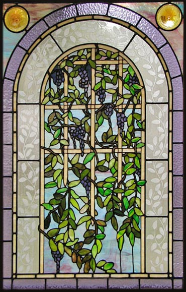 Custom stained and leaded glass Victorian style Wisteria window