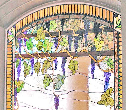 Custom stained and leaded glass grapes window